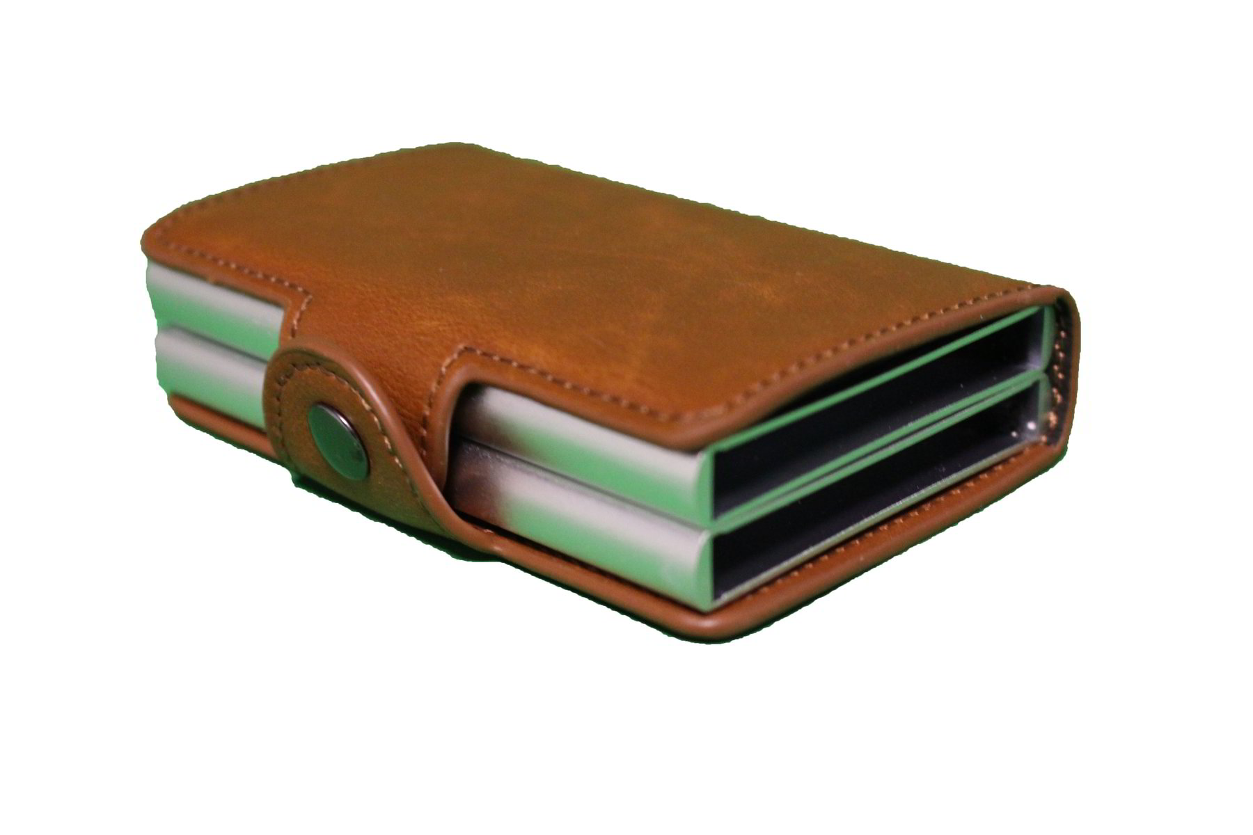 RFID Multi-function Aluminium Texture Leather Card Holder Double Slot Brown