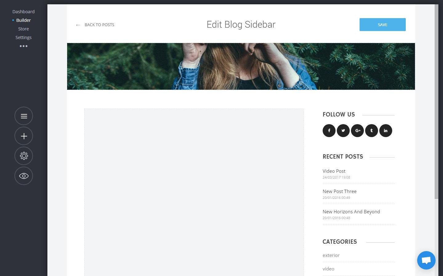 Blog header and sidebar