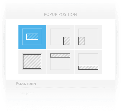 Six pop-up position settings