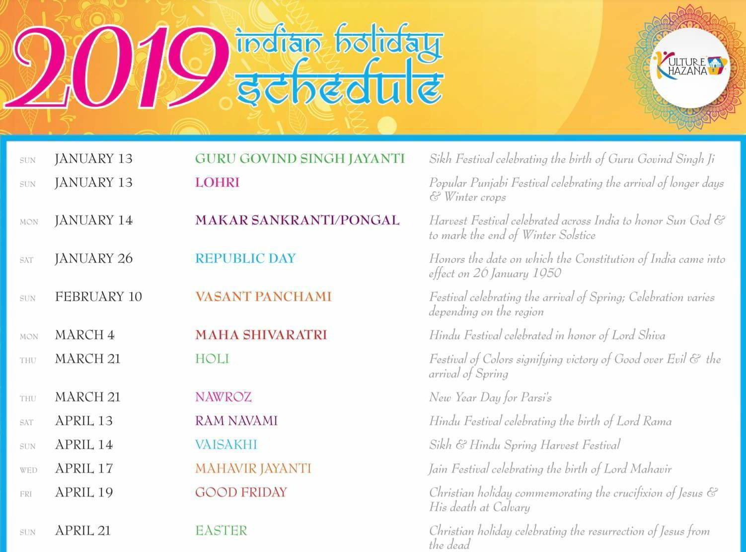 2019 Indian Holiday Schedule