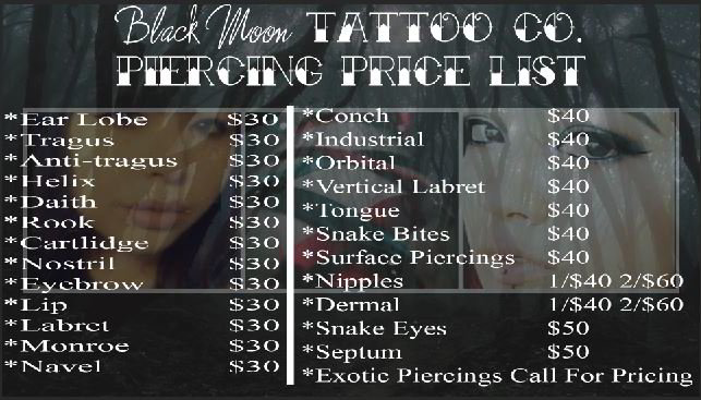 piercing and body modification pricing