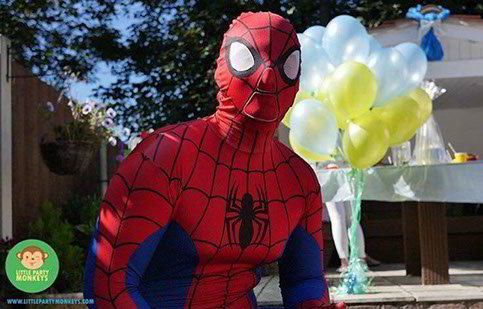 spiderman, character mascots, essex, hertfordshire, london, kent, hire, little party monkeys
