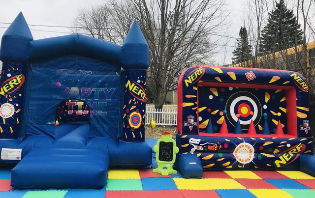 Nerf Bouncy Castle + Target Shooter Package