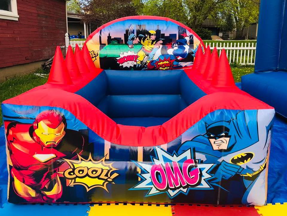 7.5' x 6' Super Hero Ball Pool with Air Jugglers