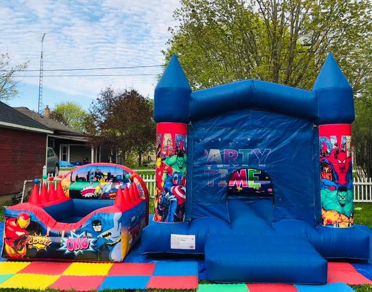 13' x 11' Super Hero Bouncy Castle + 7.5' x 6 Ball Pit Package