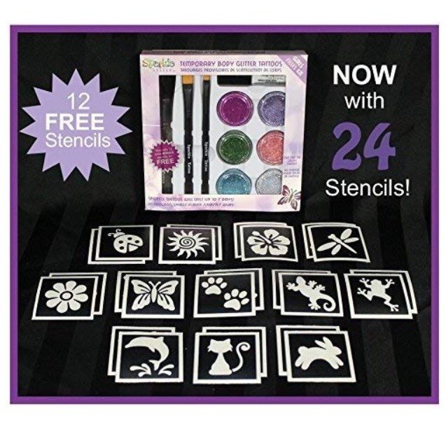 DIY Girl Themed Sparkle Tattoo Party Kit with 24 Stencils