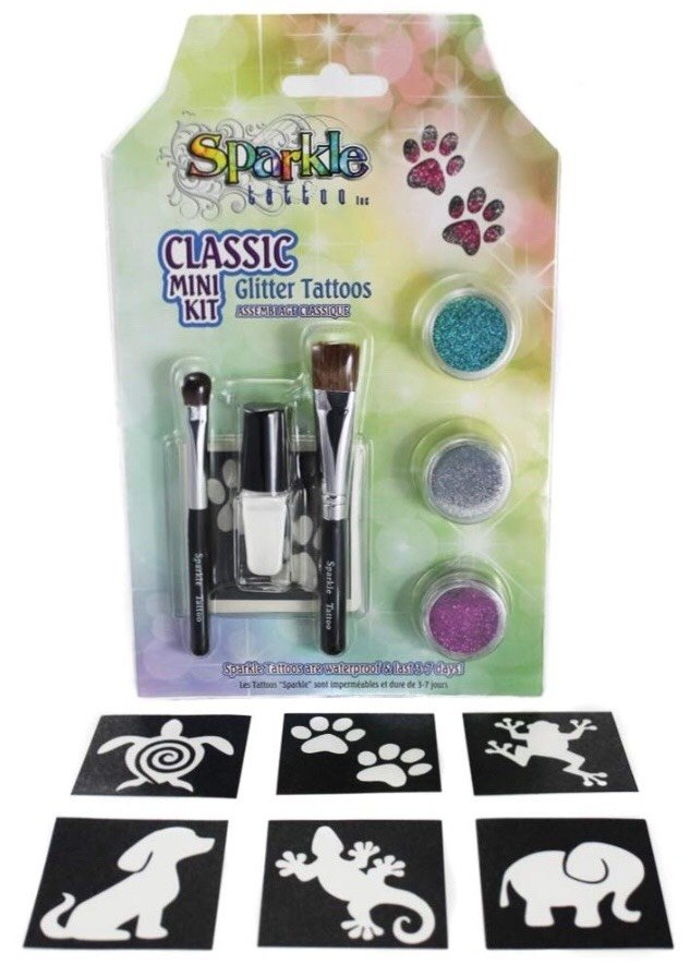 DIY Mini Sparkle Tattoo Party Kit with 6 Stencils - Classic Theme