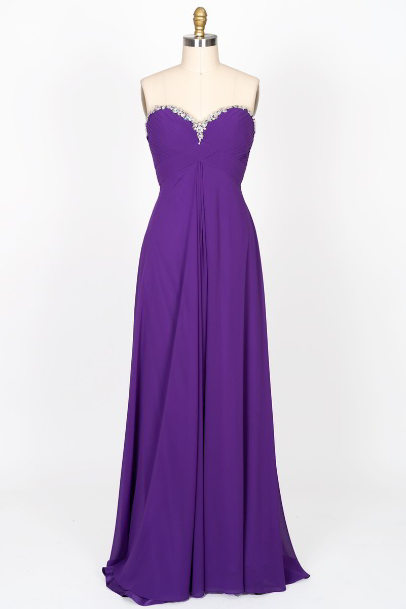 Strapless Sweetheart Beaded Neckline Long Chiffon Dress