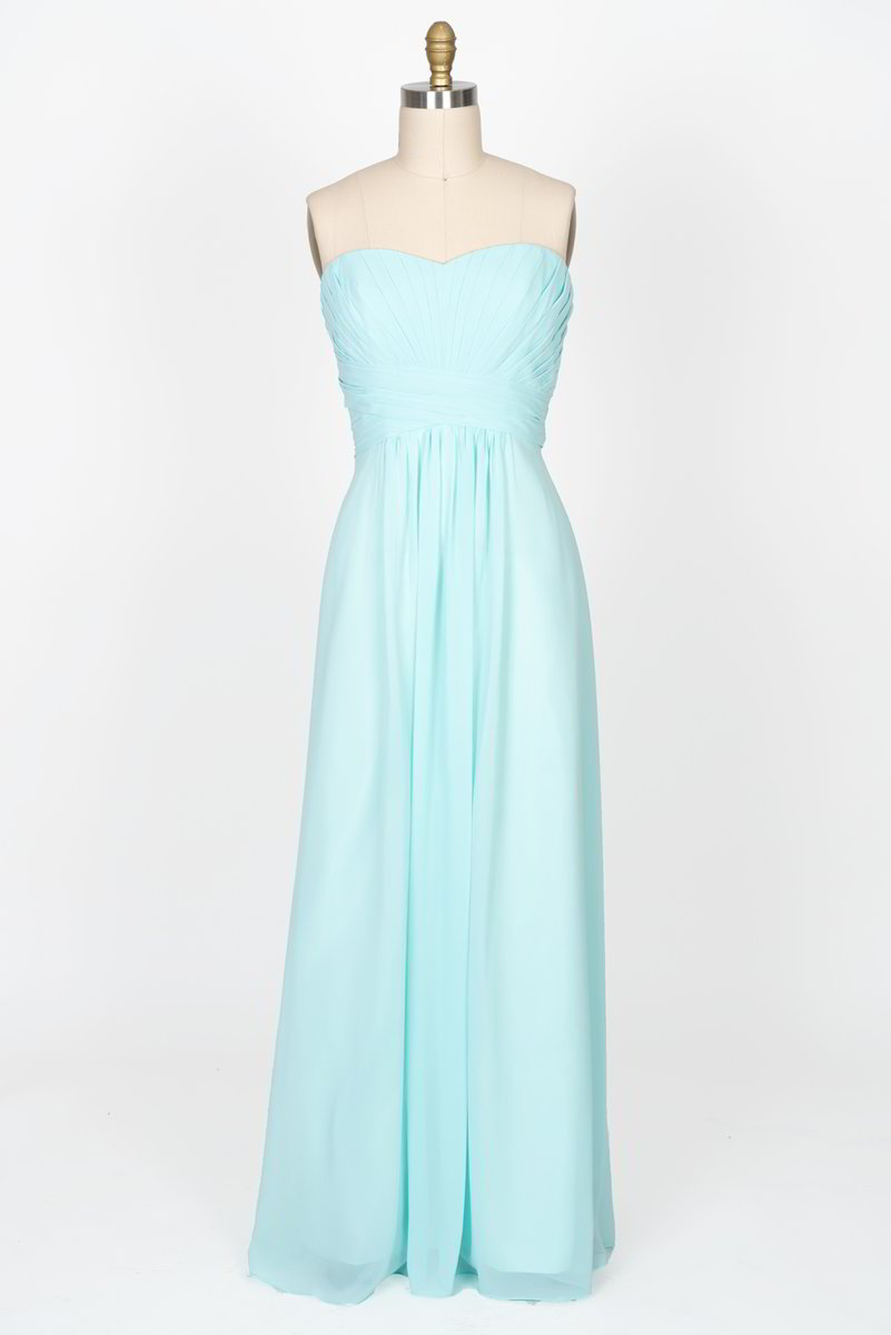 Strapless Pleated Bodice A-line Dress