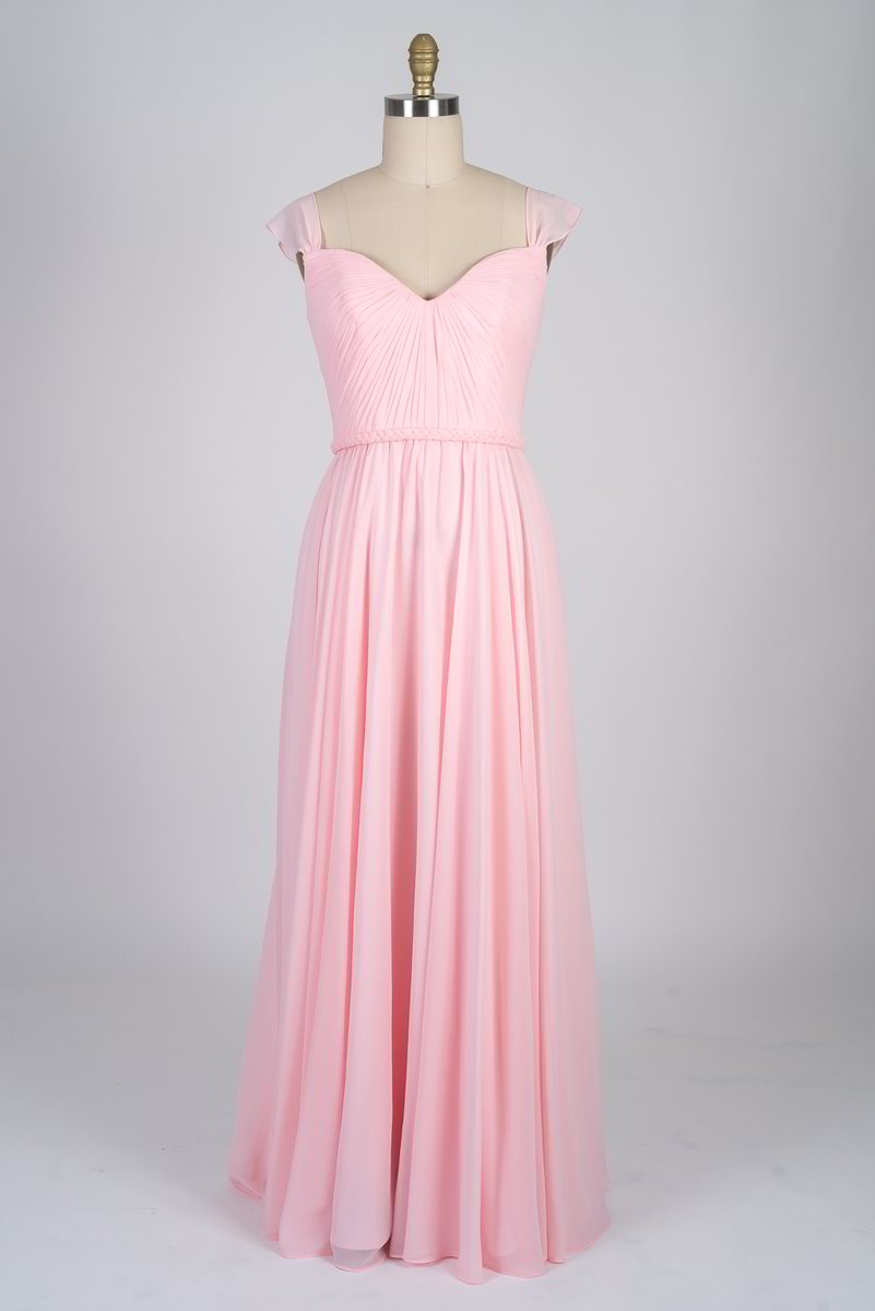 Sweetheart Neckline with Cap Sleeves Chiffon Dress