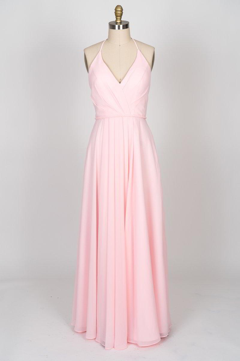 900af52393 V-Neckline Criss Cross Open Back Chiffon Dress