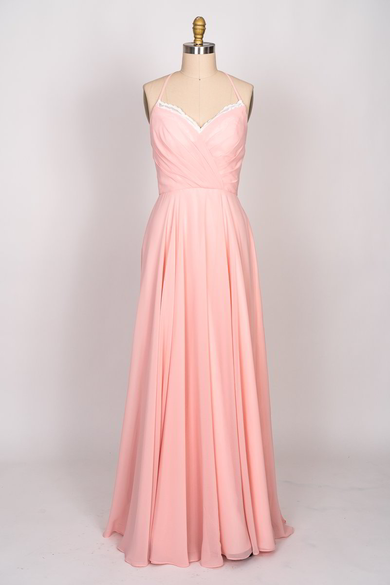 Sweetheart neckline with lace scallop spaghetti strap Long Chiffon Dress