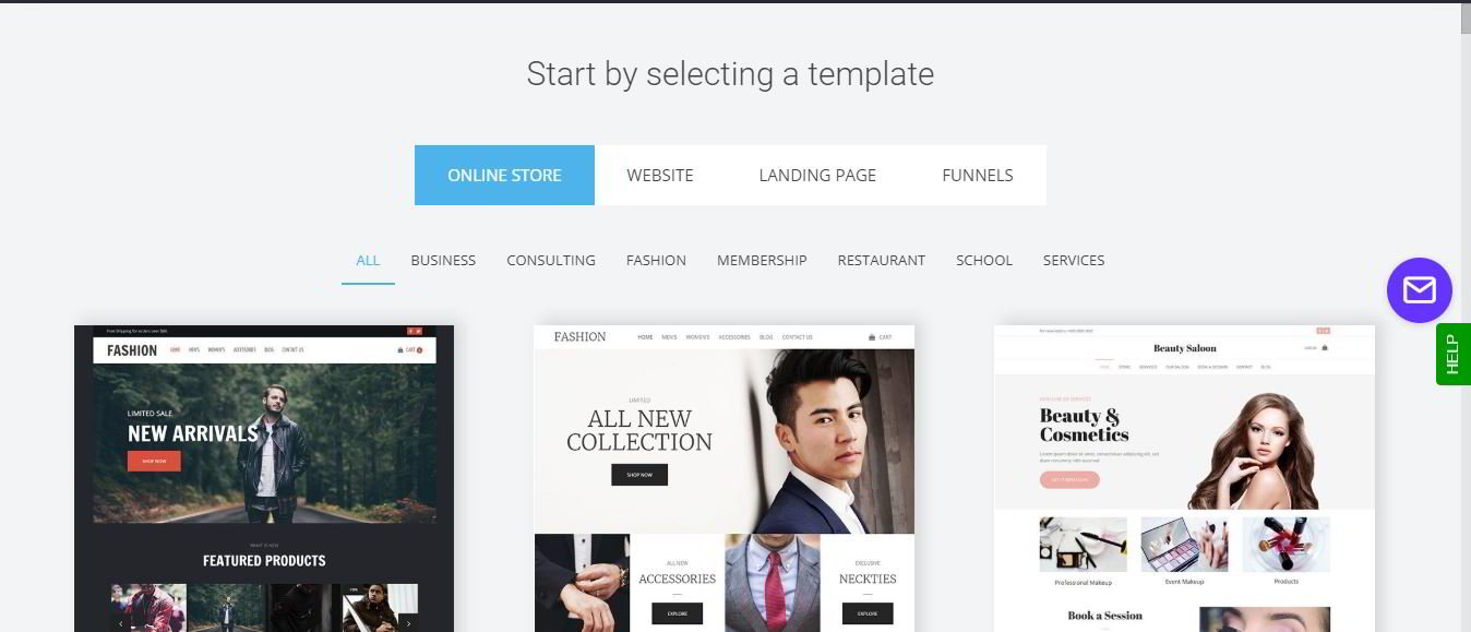 Selecting a webzoly template