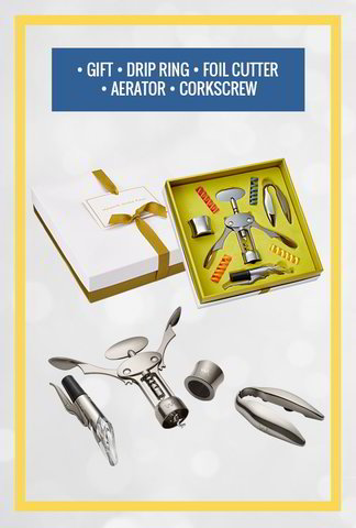 Full Set: Corkscrew, Aerator, Foil Cutter, Drip Ring