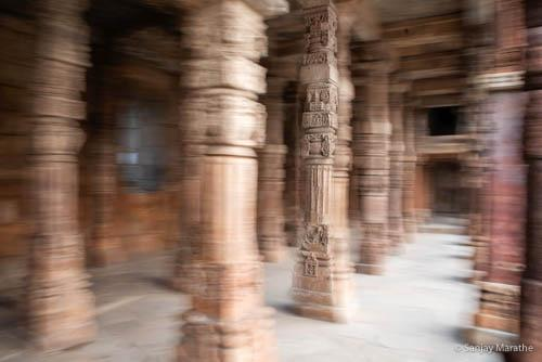 Delhi cityscapes limited edition art photograph of pillar and arch at Qutb Minar complex by Sanjay Marathe