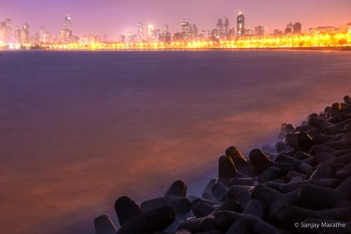 Title - 'Queens Necklace', Fine art photography print of Mumbai Cityscapes Series by artist Sanjay Marathe