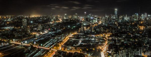 Title - 'Mumbai Night Panorama', Fine art photography print of Mumbai Cityscapes Series by artist Sanjay Marathe