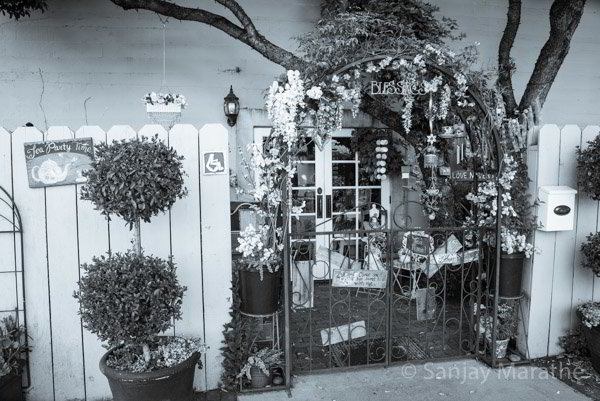 Fine art photography print of 'English Rose Tea Room' in Classic Black & White by artist Sanjay Marathe.