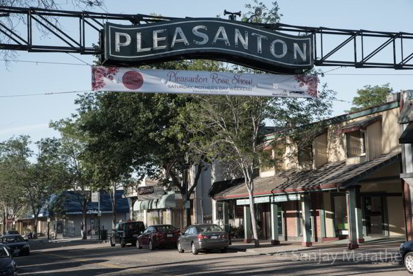 Fine art photography print of 'Downtown Pleasanton' in Aged Colour by artist Sanjay Marathe.