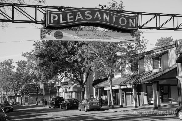 Fine art photography print of 'Downtown Pleasanton' in Black & White by artist Sanjay Marathe.