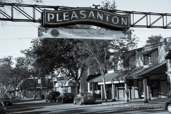 Fine art photography print of 'Downtown Pleasanton' in Classic Black & White by artist Sanjay Marathe.