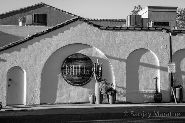 Fine art photography print of 'Drift Co Gas Station' in Black & White by artist Sanjay Marathe.