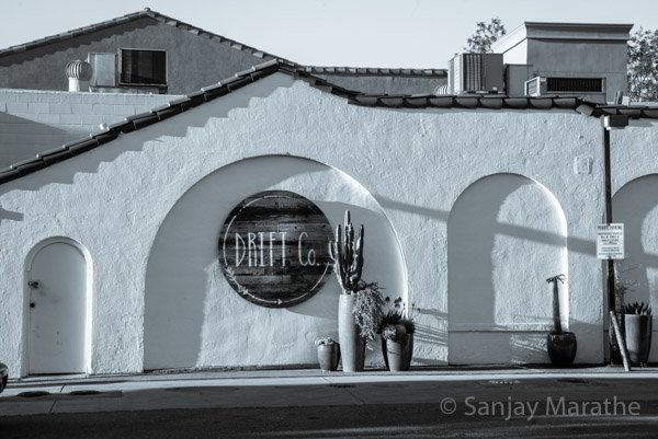Fine art photography print of 'Drift Co Gas Station' in Classic Black & White by artist Sanjay Marathe.