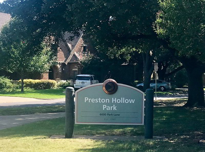 The Preston Hollow Park located in the Preston Hollow neighborhood in Dallas, Texas.