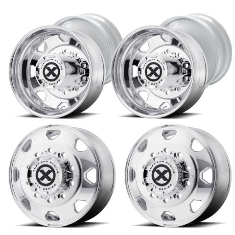 "6 - American Racing ATX  Indy Semi Wheels 22.5x8.5 Milled to 22"" Dually Wheels"