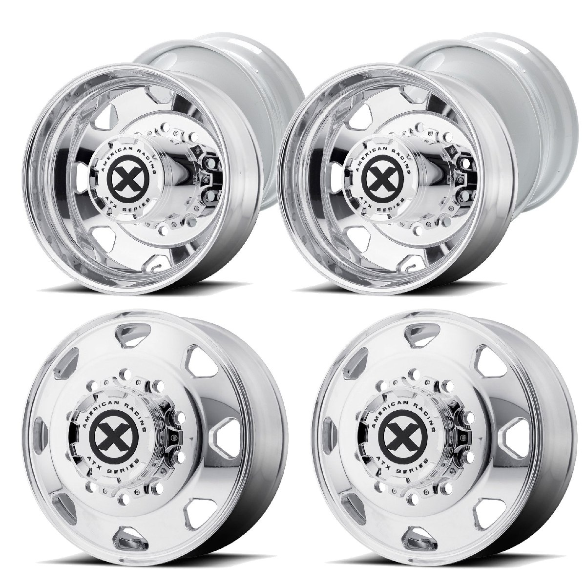 "American Racing ATX Octane Style Semi Wheels 24.5"" x 8.5"" Milled to 24"" Dually Wheels"