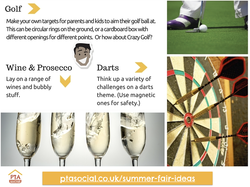 PTA Summer fair ideas - golf games, wine and prosecco, dart games
