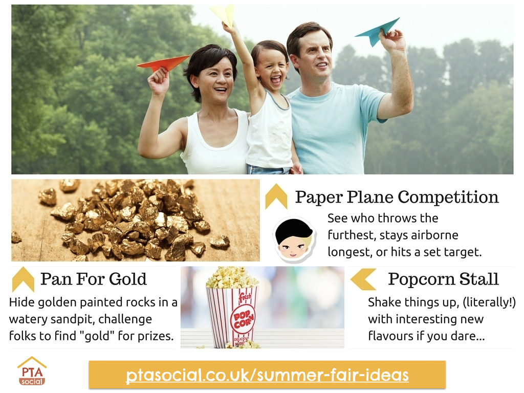 Summer Fair Ideas - Pan for Gold, Paper Plane Competition, Popcorn Stall