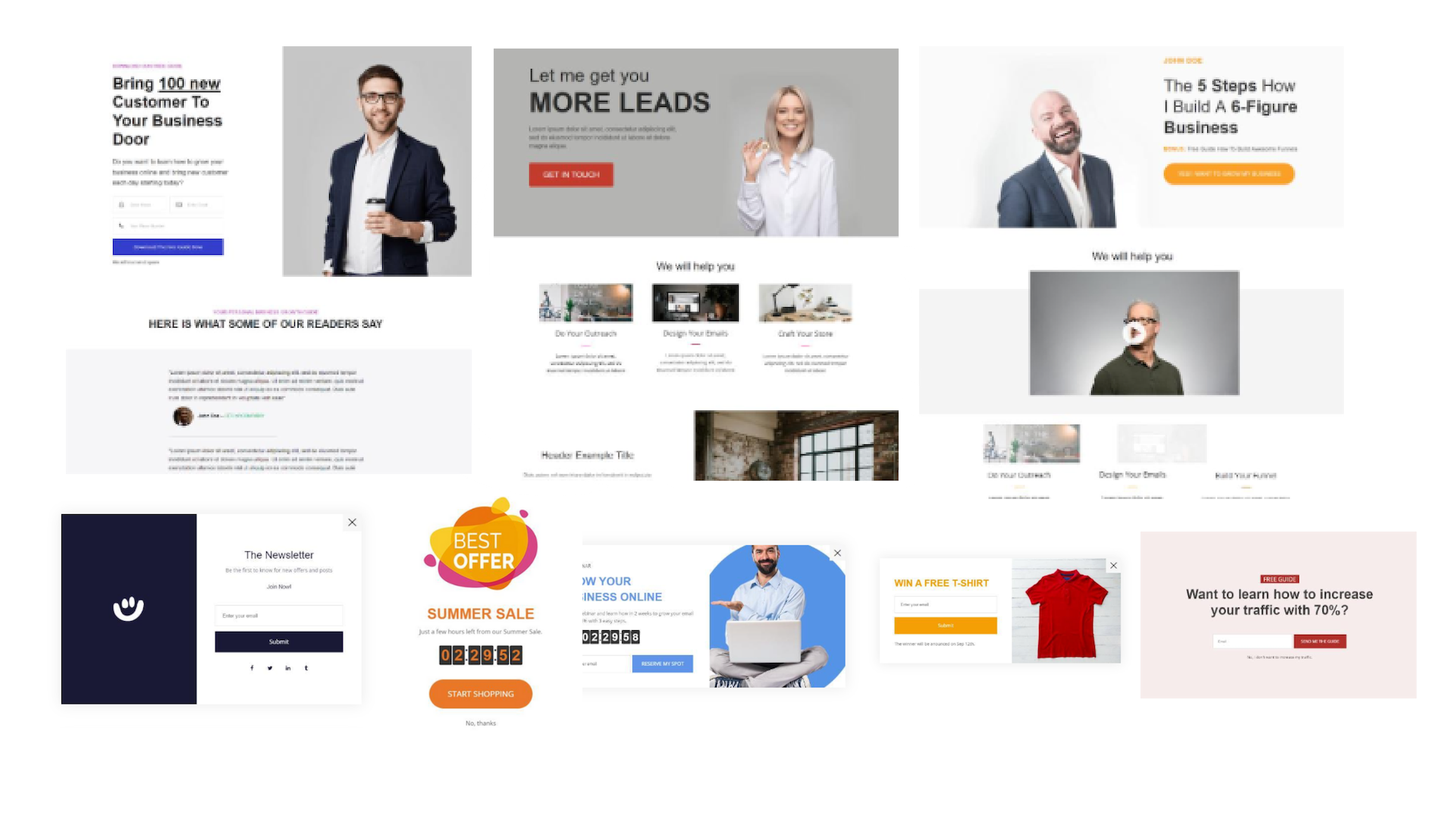 WEBXLY landing pages and popup templates