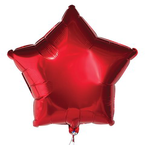 "Red Star Foil Balloons, 18"" w/ Message"