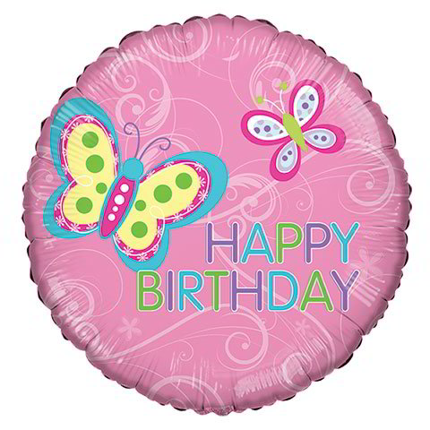 """Happy Birthday"" Butterfly Foil Balloons, 18"""