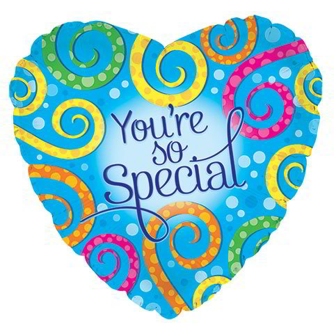 """You're So Special"" Heart-Shaped Foil Balloons, 18"""