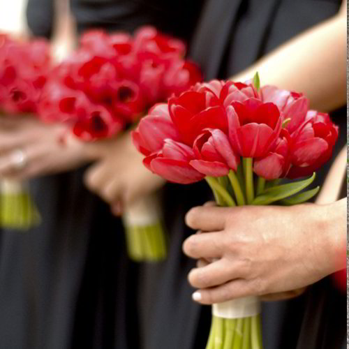Red Tulip Bridesmaid Bouquet