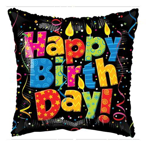 Happy Birthday Candle and Confetti Square Foil Balloons, 18 in.