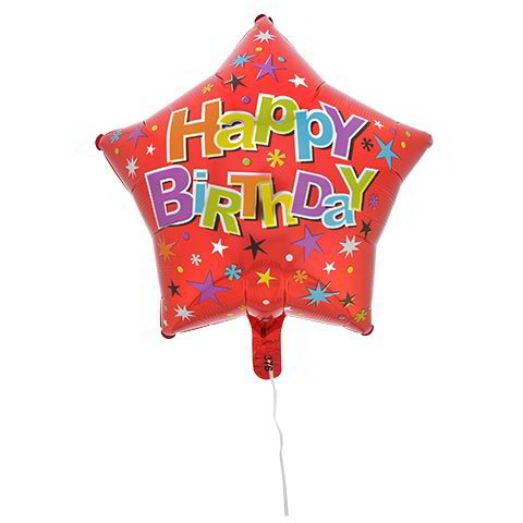 "Red Star ""Happy Birthday"" Foil Birthday Balloons, 18"""