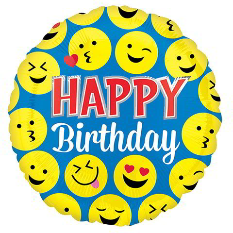 """Happy Birthday"" Smiley Faces Foil Balloons, 18 in."
