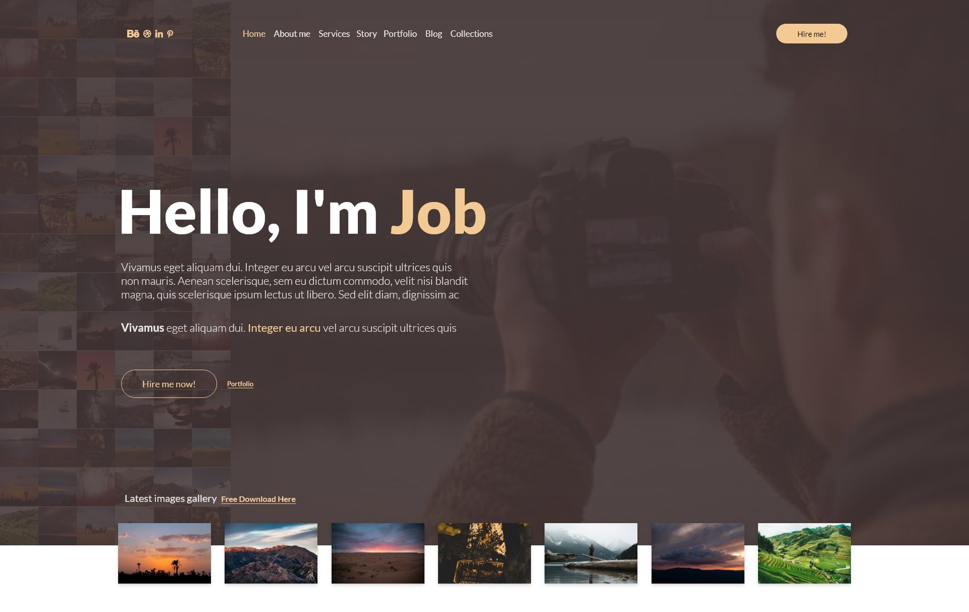 Job photo service - Adobe xd free landing page - ebuildix