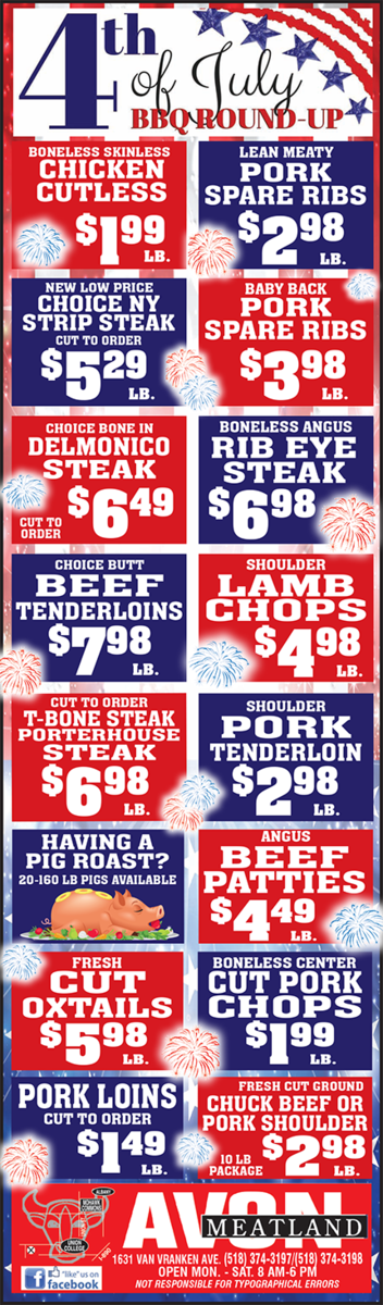 Avon Meats Specials List