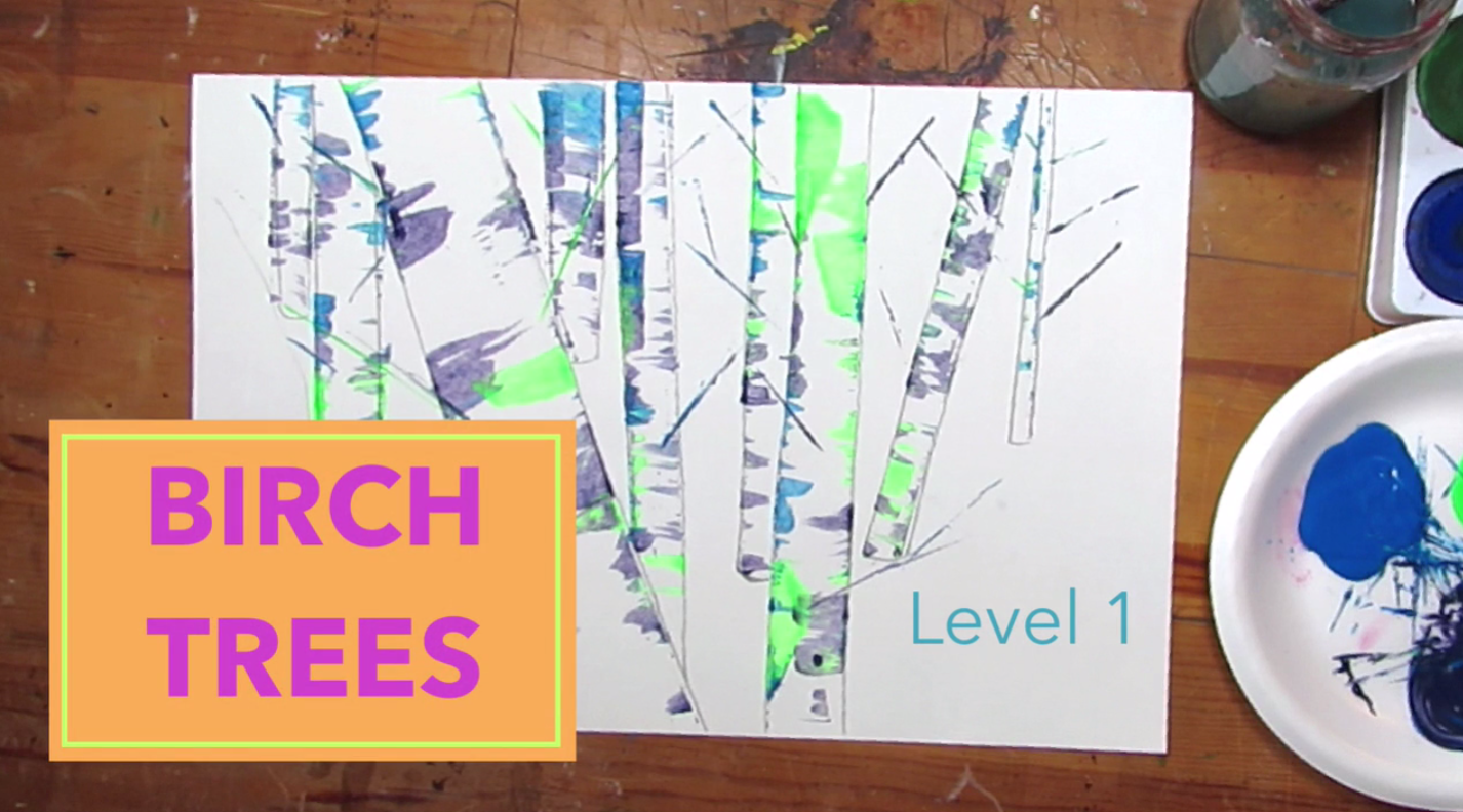 Tempera Paint Birch Trees