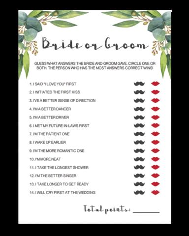 Botanical Bridal Shower Would She Rather Game Printable - RE1