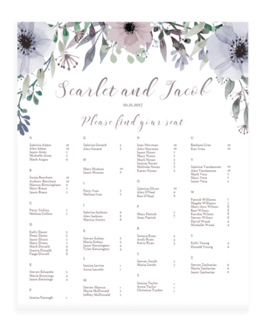 Alphabetical Wedding Seating Plan Templates - Purple Flowers - STG1