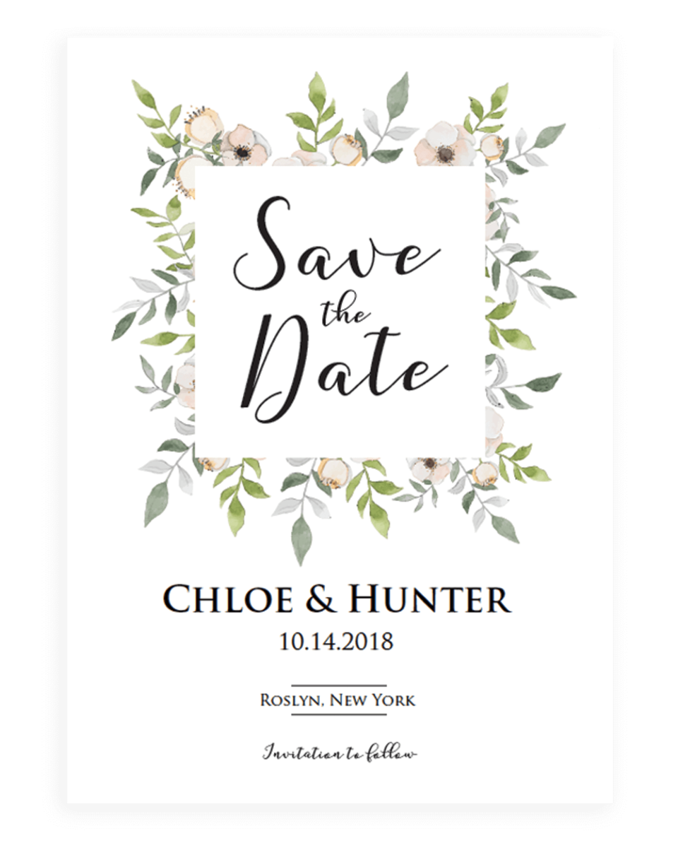 Botanical Save the Date Card Template