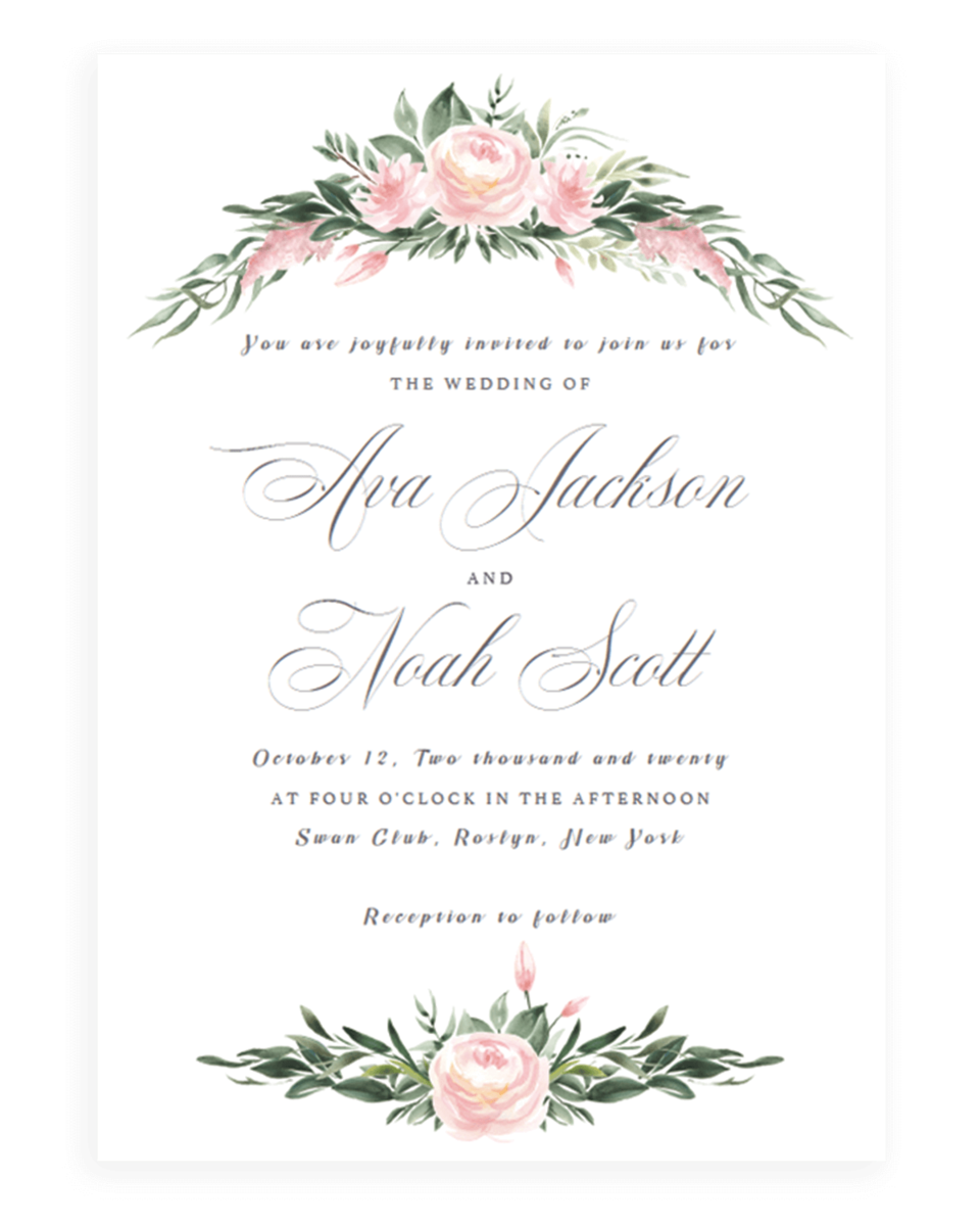 Classic Wedding Invitation Template Pink Floral Wedding
