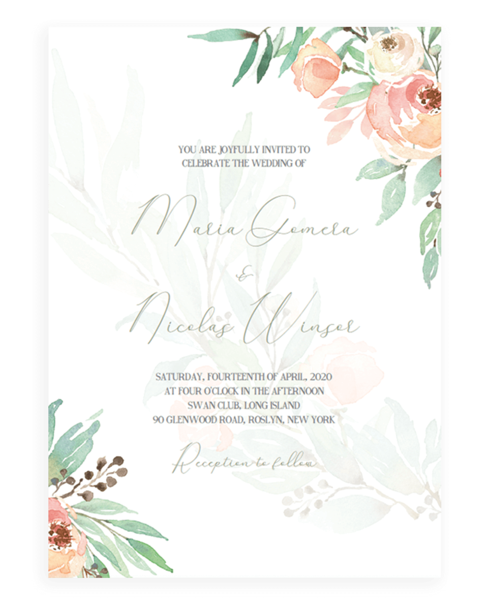 Blush Floral Wedding Invitations Printable