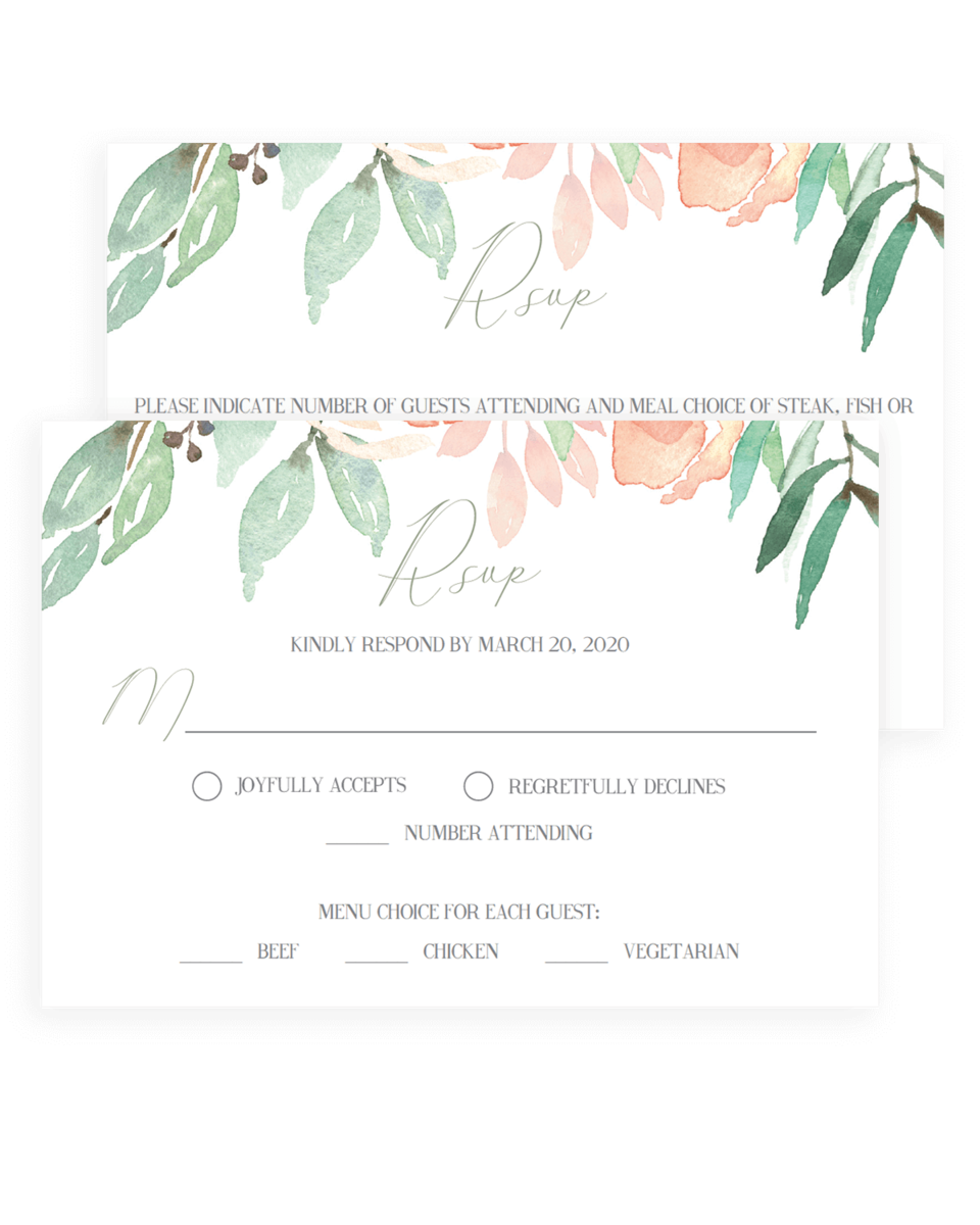 Watercolor Wedding Response Cards Templates