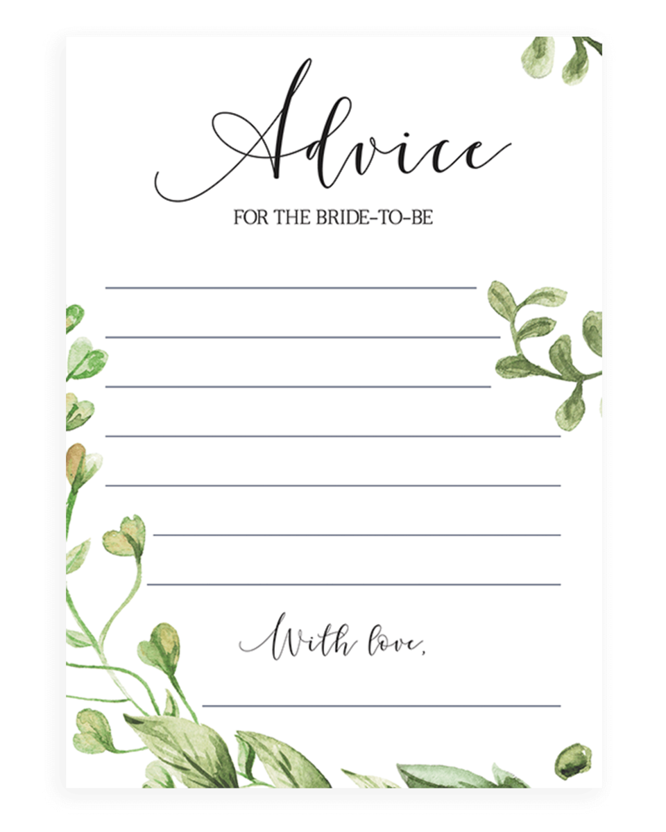 Botanical Advice Card for the Bride to be Printable - CG1